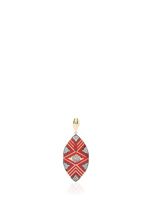 Kırmızı Gold Geometrik Desenli Kadın Kolye Ucu