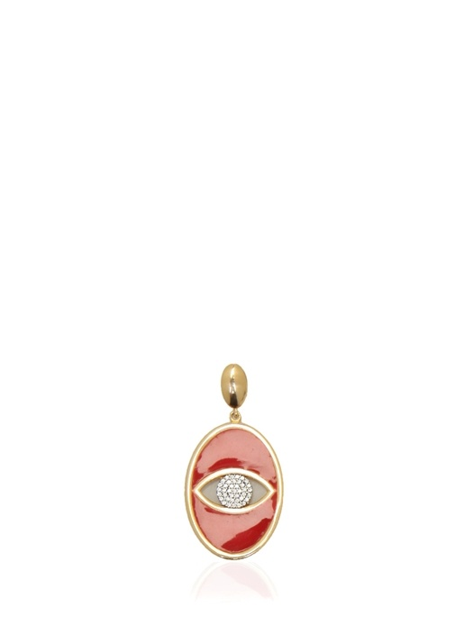 Oval Formlu Göz Detaylı Kadın Gümüş Kolye Ucu