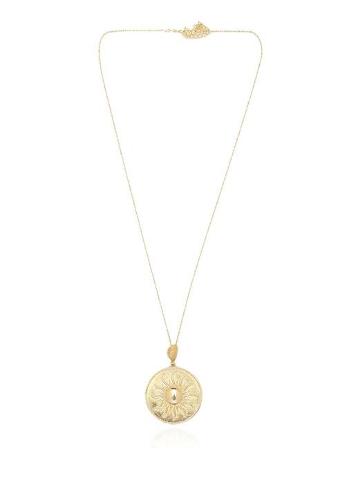 Gold Para Formlu Kadın Gümüş Kolye