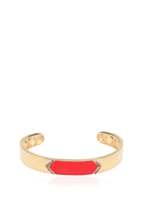 Gold Kırmızı Mineli Kadın Gümüş KelepçeBileklik