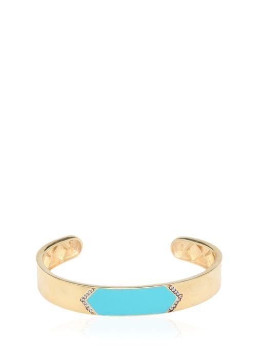 Gold Mavi Mineli Kadın Gümüş Kelepçe Bileklik