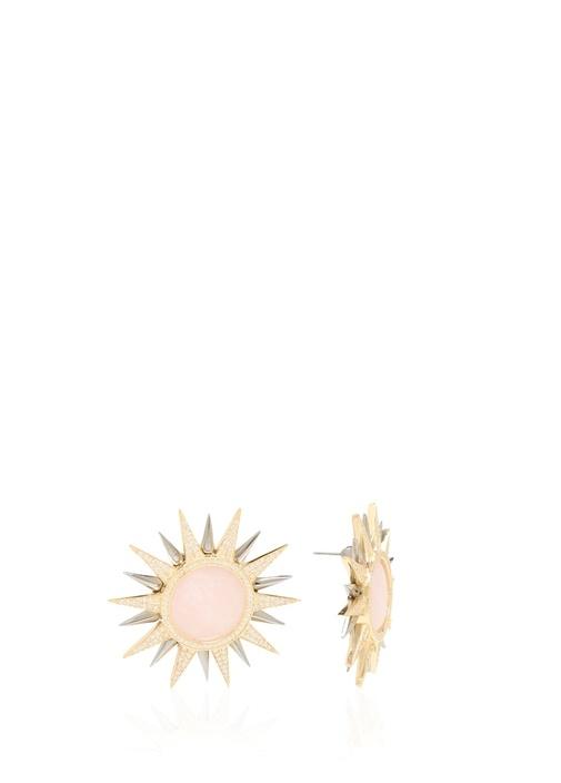 Pembe Güneş Formlu Kadın Gümüş Küpe