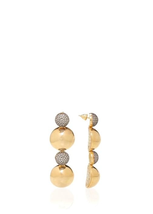 Gold Silver Çift Toplu Kadın Gümüş Küpe