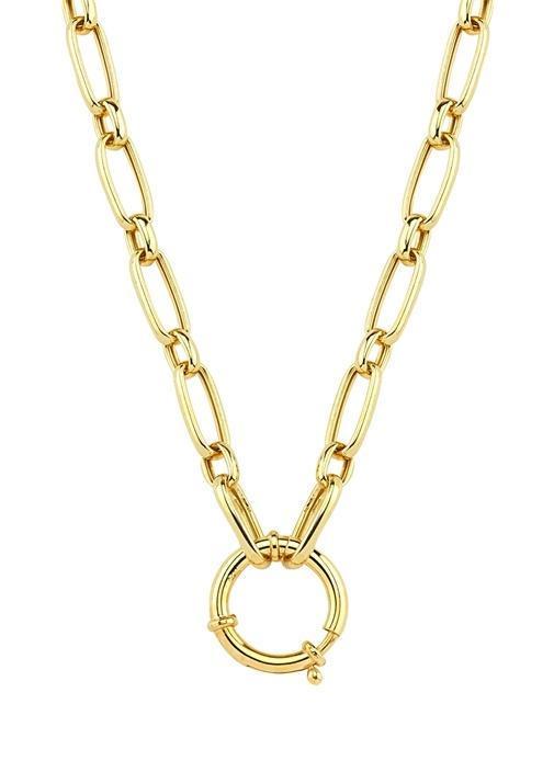 Gold Büyük Halkalı Kadın Gümüş Zincir Kolye
