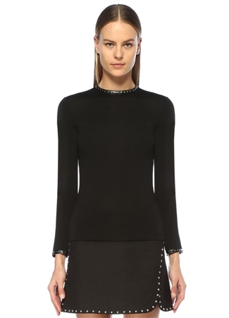 Siyah Troklu Şeritli Uzun Kol Bluz