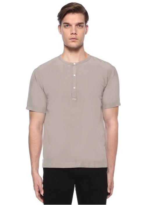 Gri Mao Yaka Düğmeli Yarım Kollu Gömlek