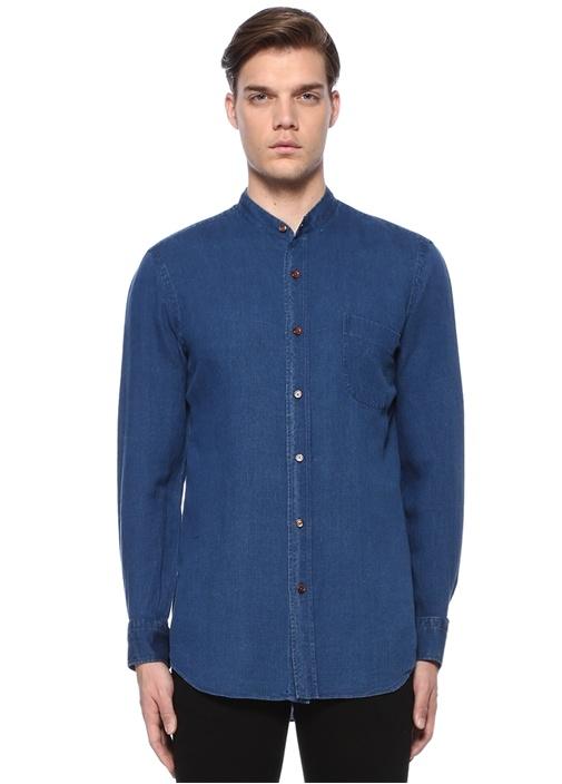 Mavi Mao Yaka Düğmeli Cepli Keten Gömlek