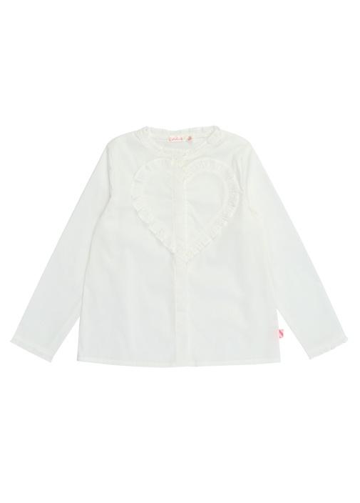 Beyaz Fırfırlı Kalp Detaylı Kız Çocuk Gömlek