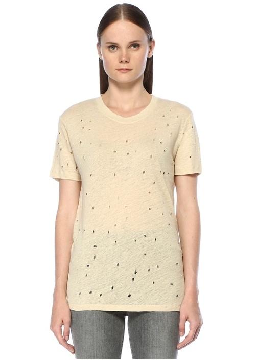 Bej Yıpratmalı Basic T-shirt