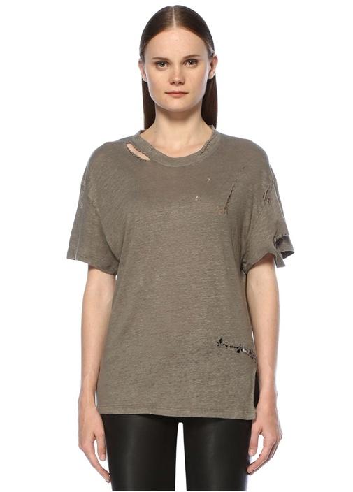 Gri Yıpratmalı Basic T-shirt