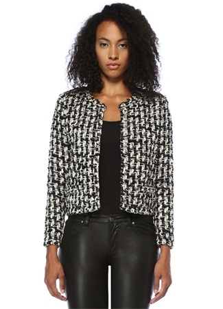 IRO Kadın Gonna Ekru Siyah İnci Detaylı Tweed Ceket Bej 34 IT