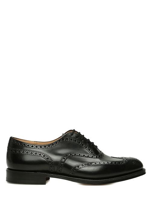 Burwood Siyah Delik Detaylı Erkek Deri Ayakkabı