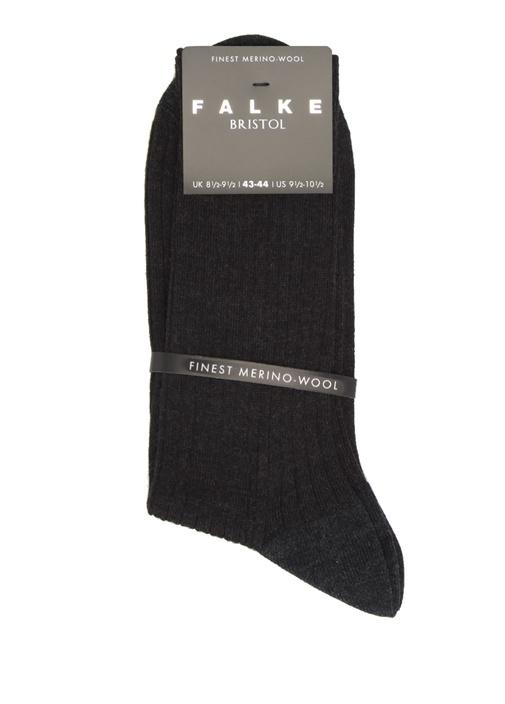 Antrasit Logo Jakarlı Erkek Yün Çorap