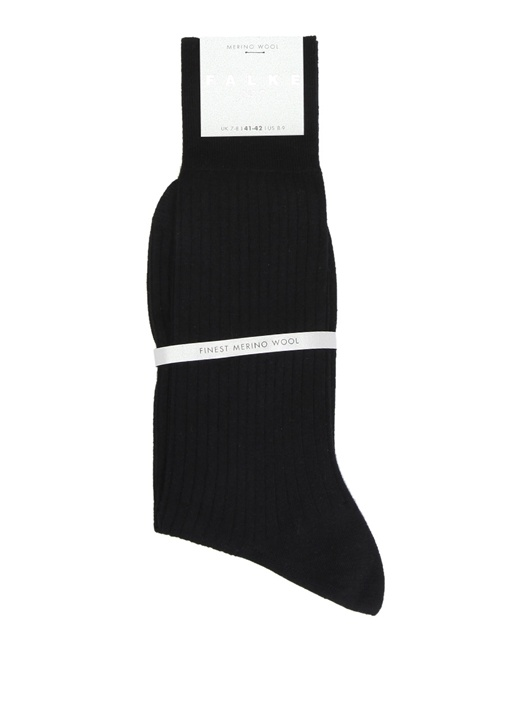Siyah Ribli Logolu Erkek Yün Çorap