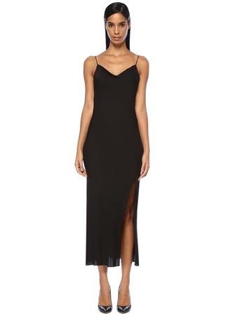 heory Kadın Siyah İp Askılı Sırtı Drapeli Maksi İpek Elbise 4 US