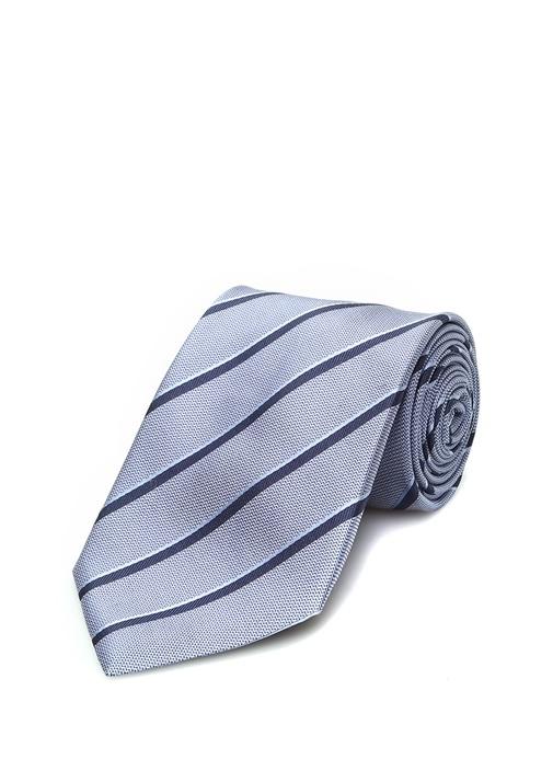 Mavi Lacivert Verev Çizgili İpek Kravat