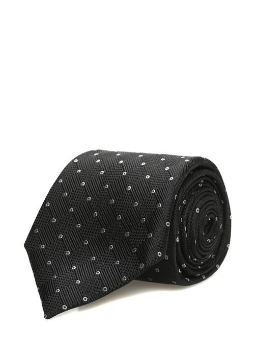Siyah Mikro Geometrik Desenli İpek Kravat