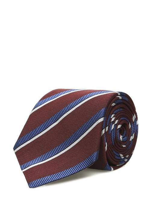 Bordo Mavi Çizgili İpek Kravat