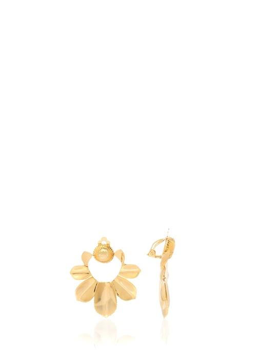 Gold Çiçek Formlu Sallantılı Kadın Küpe