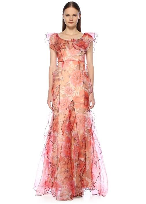 Pembe Fırfırlı Çiçek Desenli Maxi Elbise