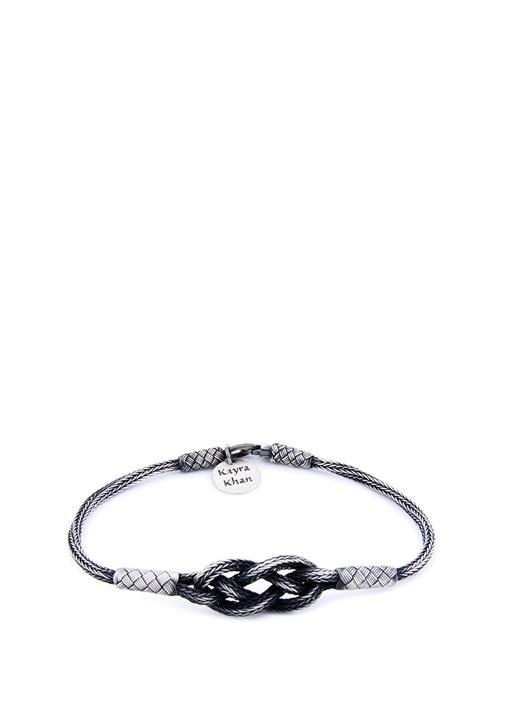 Silver Düğüm Formlu İşlemeli Erkek Bileklik