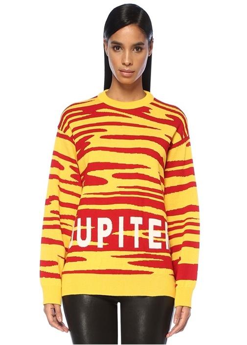 Jupiter Jakarlı Sarı Kırmızı Düşük Kol Yün Kazak