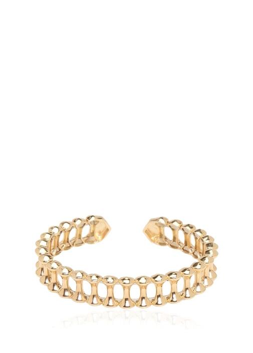 Gold Zincir Detaylı Kadın Gümüş KelepçeBileklik