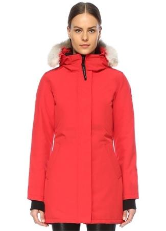 Canada Goose Kadın Victoria Kırmızı Kapüşonlu Parka XXS EU