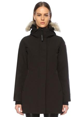 Canada Goose Kadın Victoria Siyah Kapüşonlu Parka XXS EU