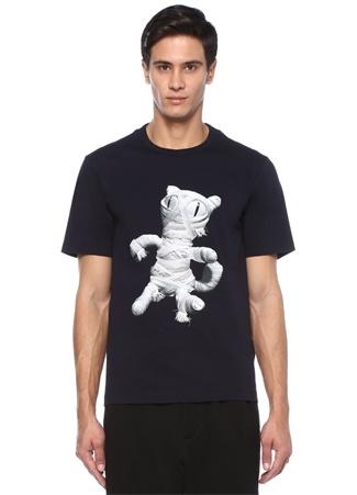 Juun.J Erkek Lacivert Bisiklet Yaka Baskılı Patchli -shirt 48 I (IALY) Ürün Resmi