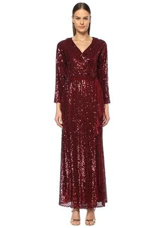 In the Mood for Love Kadın Parrish Bordo Payetli Fırfırlı Maxi Anvelop Elbise L EU