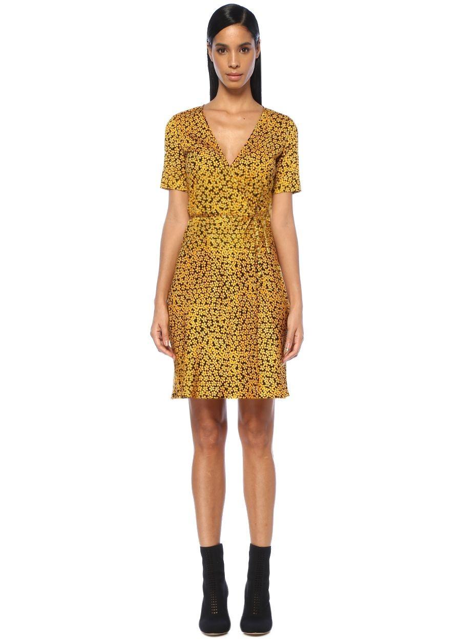 Diane Von Furstenberg Sarı Çiçekli Yarım Kollu Mini Saten Anvelop Elbise