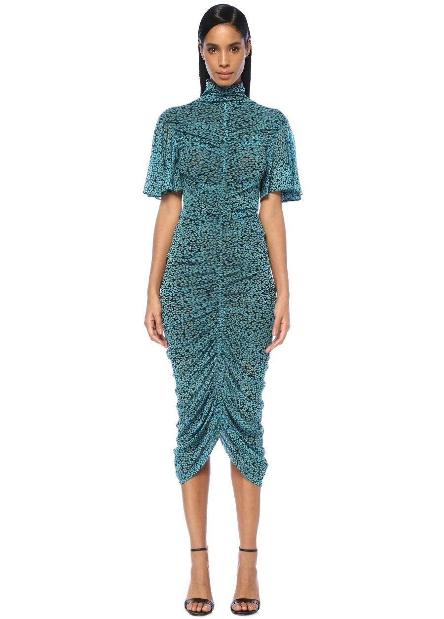 Diane Von Furstenberg Olivia Mavi Dik Yaka Çiçekli Drapeli Midi Elbise