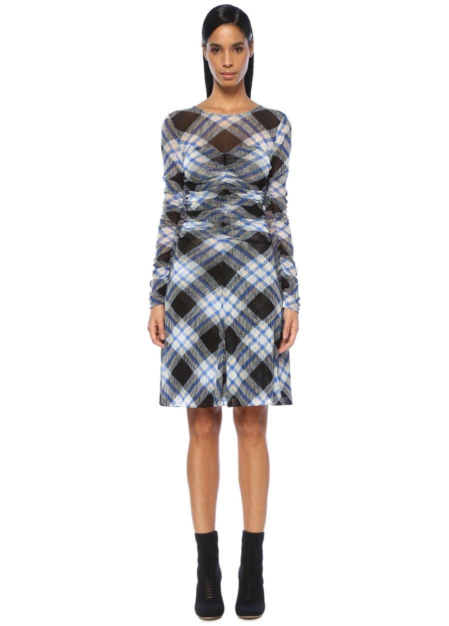 Diane Von Furstenberg Mavi Ekoseli Drapeli Uzun Kollu Mini Elbise