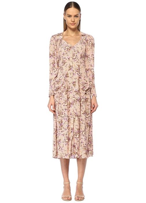 Pembe V Yaka Çiçekli Puanlı Fırfırlı Midi Elbise