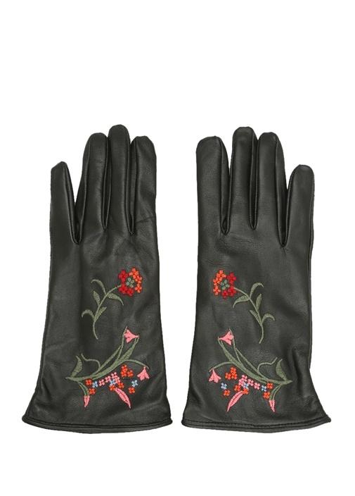 Beymen Club Siyah Çiçek Nakışlı Kadın Deri Eldiven – 169.0 TL