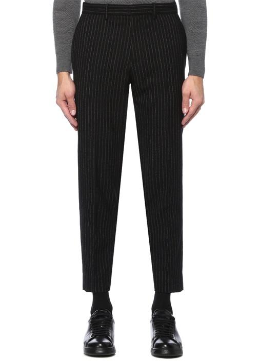 Logan Siyah Çizgili Yün Pantolon