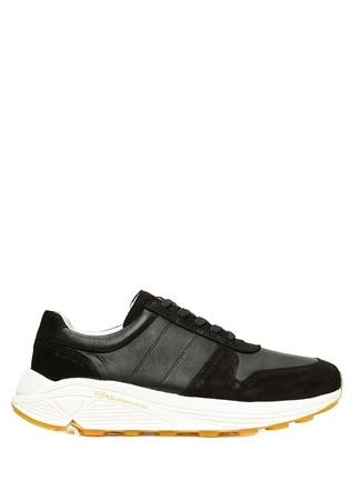 Erkek Runner Siyah Deri Sneaker 40 EU