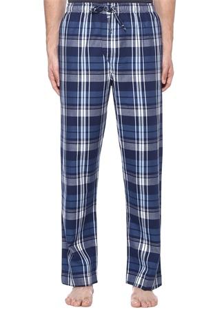 Mavi Ekose Desenli Pijama Altı