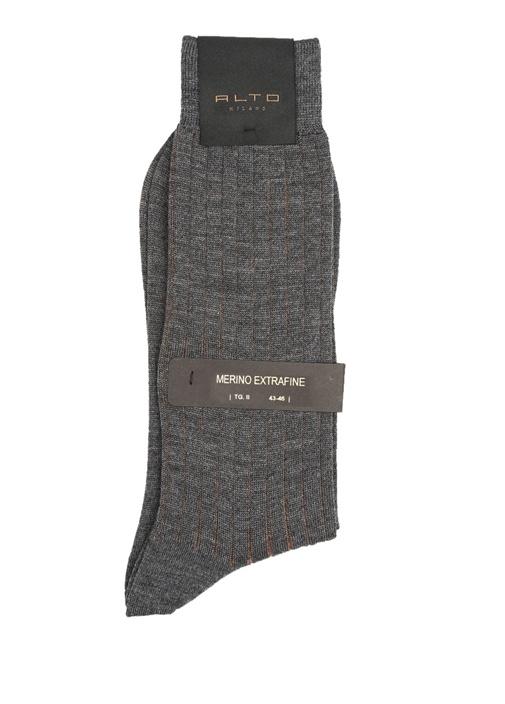 Gri Ribli Logolu Erkek Yün Çorap