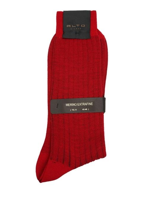 Kırmızı Ribli Erkek Yün Çorap