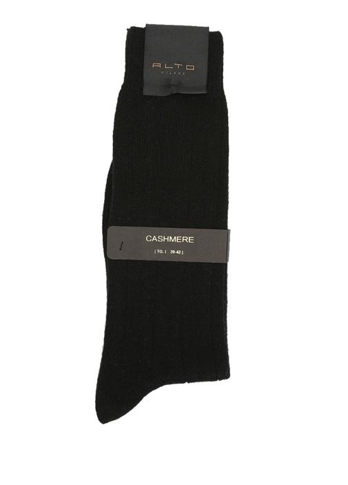 Siyah Logo Baskılı Yün Erkek Çorap