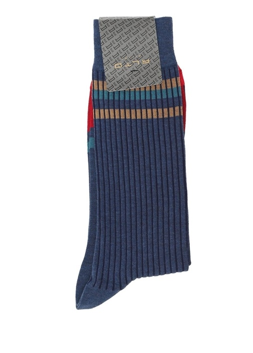 Mavi Colourblock Çizgili Erkek Çorap