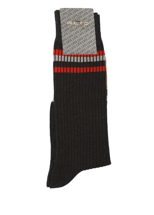 Antrasit Ribli Logo Jakarlı Erkek Çorap
