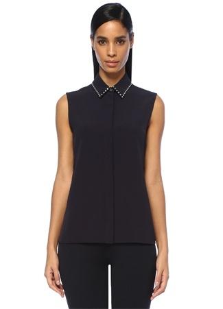 Victoria by Beckham Kadın Siyah Yakası Taş Şeritli Kolsuz Gömlek Lacivert 10 US
