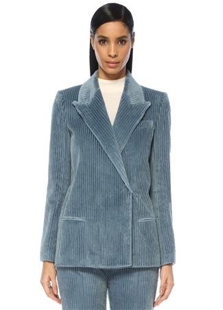 Mavi Kırlangıç Yaka Kruvaze Kadife Ceket