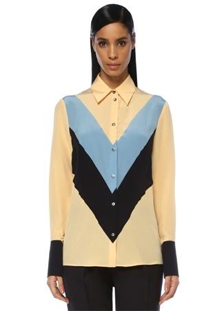 Krem Colourblock Düğmeli İpek Gömlek