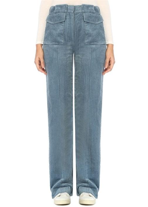 Vıctorıa By Vıctorıa Beckham Mavi Yüksek Bel Bol Paça Kadife Pantolon – 1199.0 TL