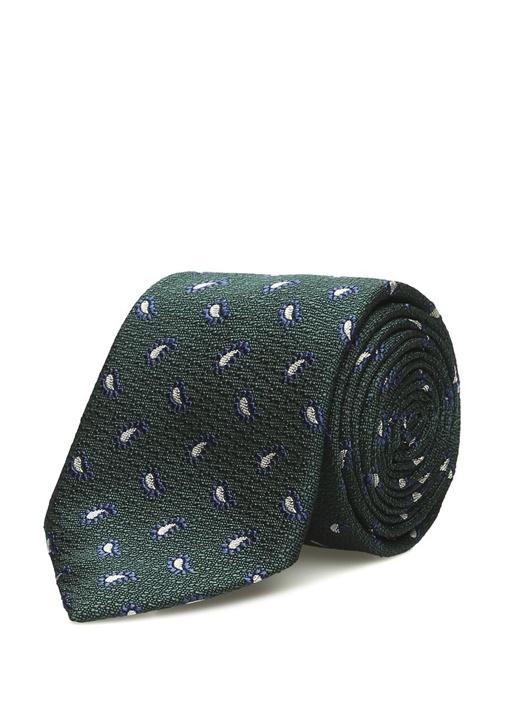 Yeşil Şal Desenli İpek Kravat