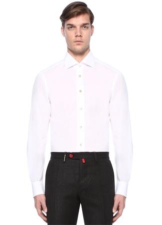 Kiton Erkek Beyaz Kesik Yaka Gömlek 45 I (IALY) Ürün Resmi